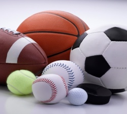 Football, baseball, basketball images